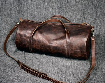 Bison Leather Duffel Bag