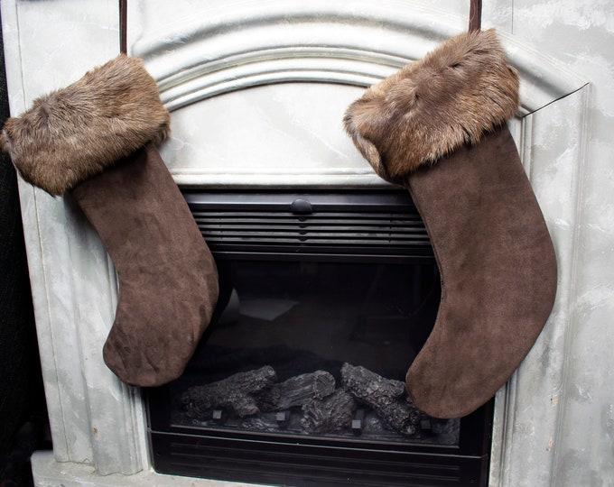 Featured listing image: Handmade Reindeer Fur Christmas Stocking