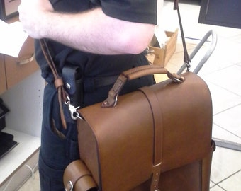 Rigid Leather Messenger Bag