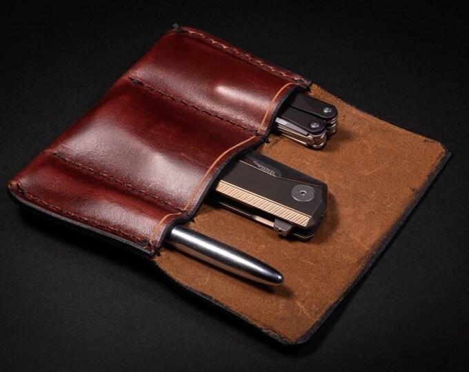Featured listing image: Handmade Leather 3 Slot Pocket Organizer