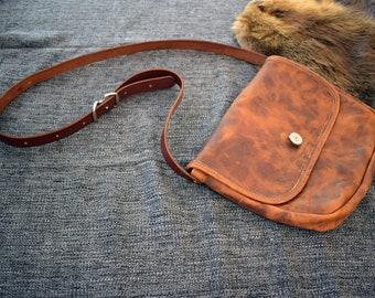 "The ""Outlaw"" Bison Leather Saddlebag Satchel"