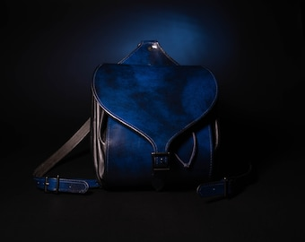IN STOCK* Blue Leather Cinch Top Backpack