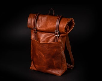 Bison Leather Roll Top Backpack