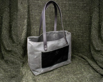 Handmade Waxed Canvas and Leather Tote Bag