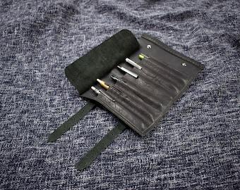 Handmade Leather Pen Roll