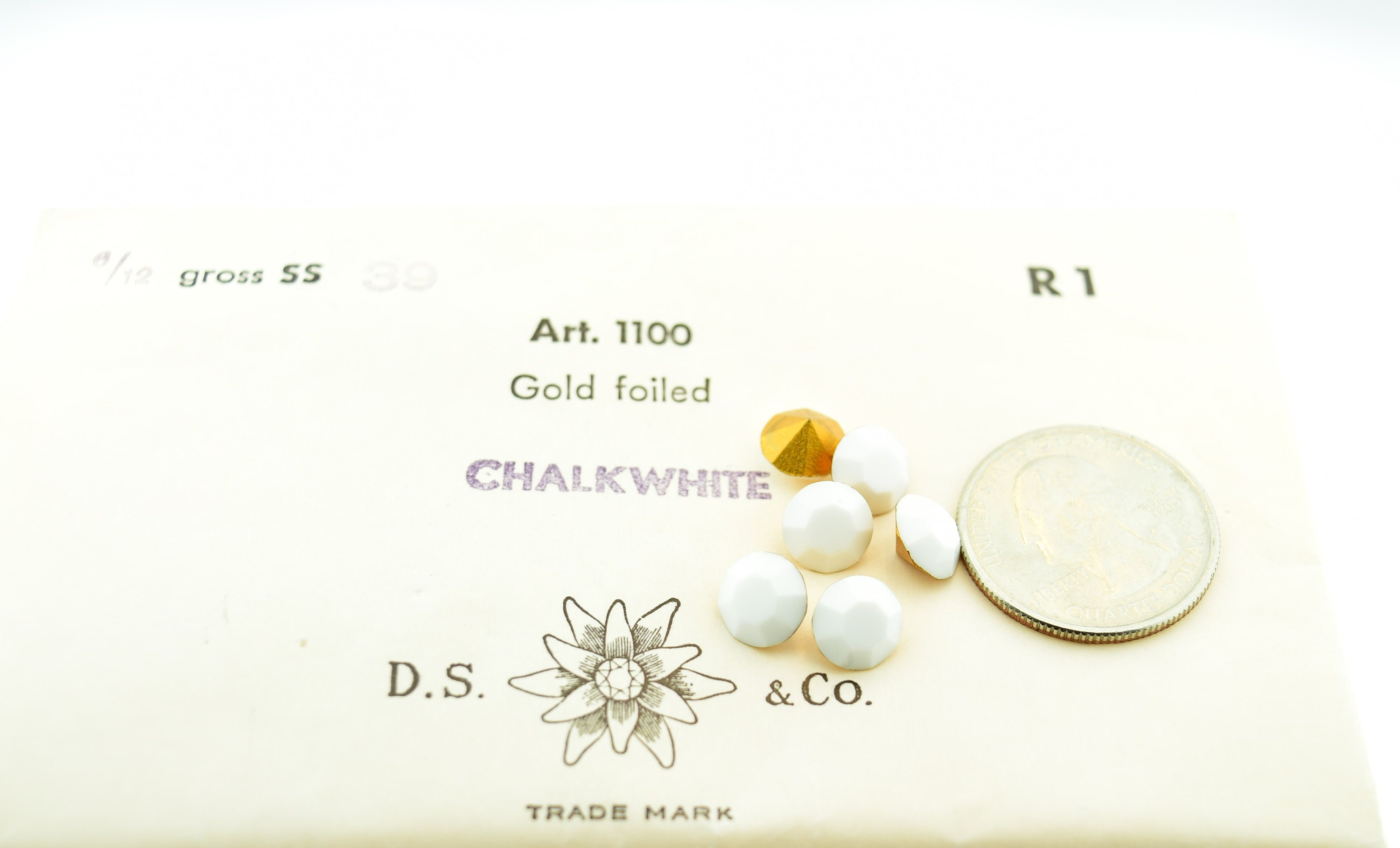 Swarovski Vintage CLEAR Diamante 1100 Chaton CRYSTALS Pointed Gold Foil Repair