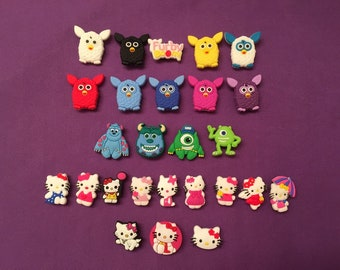 Shoe Charms for Crocs, Silicone Bracelet Charms, Party Favors, Jibbitz - Monsters University / Hello Kitty / Furby Boom