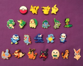 Pokemon / Pikachu Shoe Charms for Crocs, Silicone Bracelet Charms, Party Favors, Jibbitz / Pikachu PVC necklace