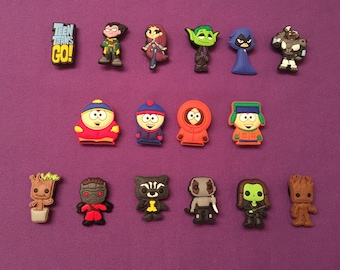 Guardians of the Galaxy / Teen Titans Go! / South Park Shoe  Charms for Crocs, Silicone Bracelet Charms, Party Favors, Jibbitz