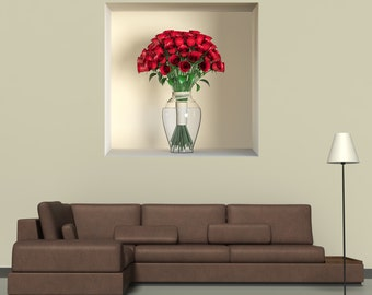 Wall decals 3D illusion vase A485 - Stickers 3D illusion vase  A485