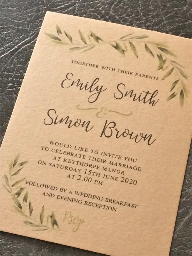 Wedding Invitation  Rustic Craft Leaf Design image 0