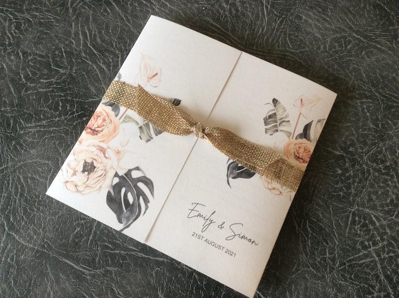 Boho Wedding Invitation Gatefold Floral with Hessian Ribbon 10 pcs (2.95 each)