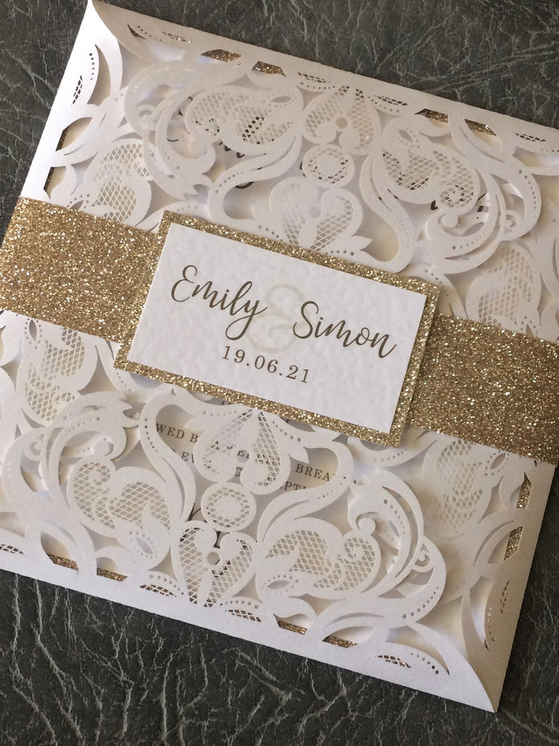Wedding Invitation  Laser Cut Card  with Glitter Belly Band White/Gold Glitter