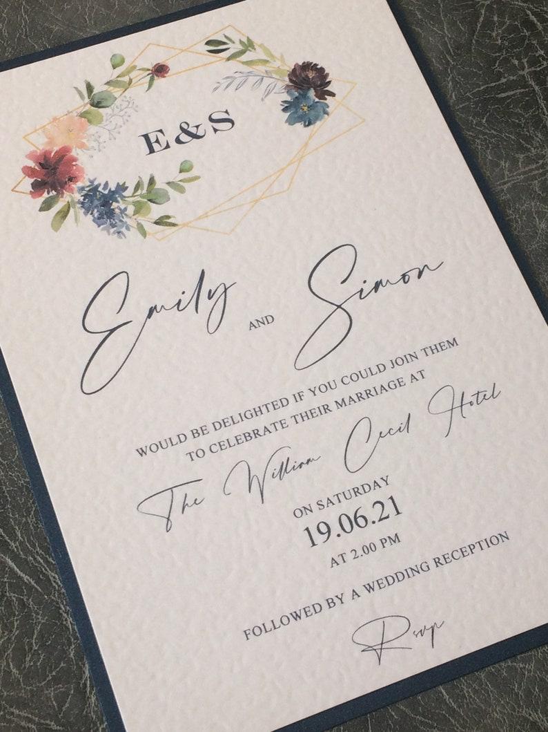 Wedding Invitation  Navy Blue Geometric Floral Mounted Invite Sample (1) 1.99