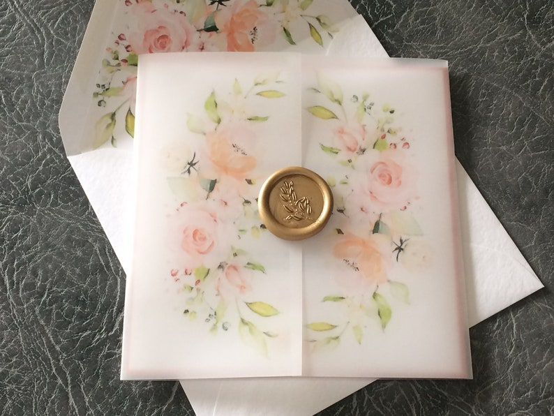 Wedding Invitation Floral Vellum with Wax Seal with Lined image 0