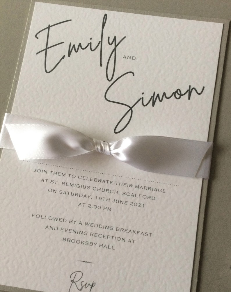 Wedding Invitation  Modern/Classic A5 Invite with Ribbon and Sample (1) 1.99