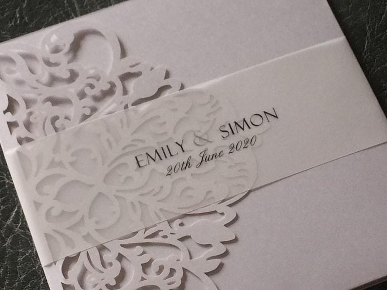 Wedding Invitation Laser Cut Pocket with Glitter   Clear image 0