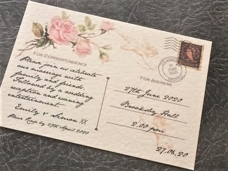 Wedding Invitation Vintage Floral Postcard Design Sample (1) 0.99