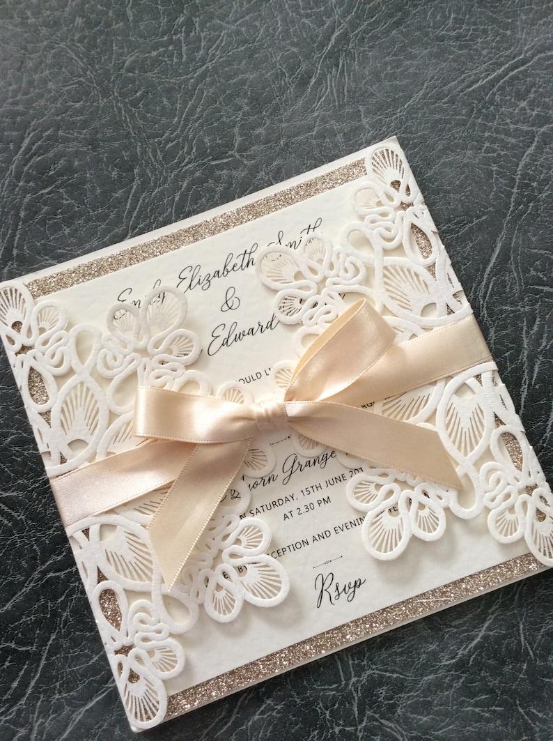 Wedding Invitation  Laser Cut with Glitter & Satin Ribbon Bow Sample (1) 1.99