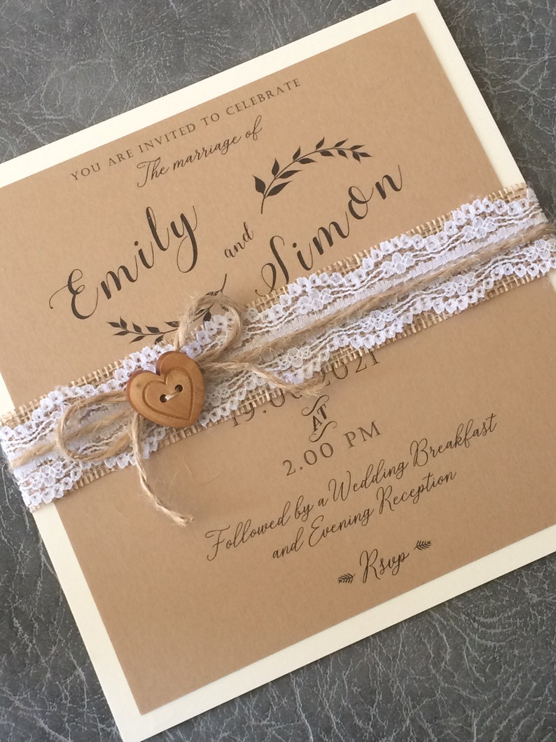 Wedding Invitation  Rustic Craft Lace/Hessian with Twine and Sample (1) 1.99
