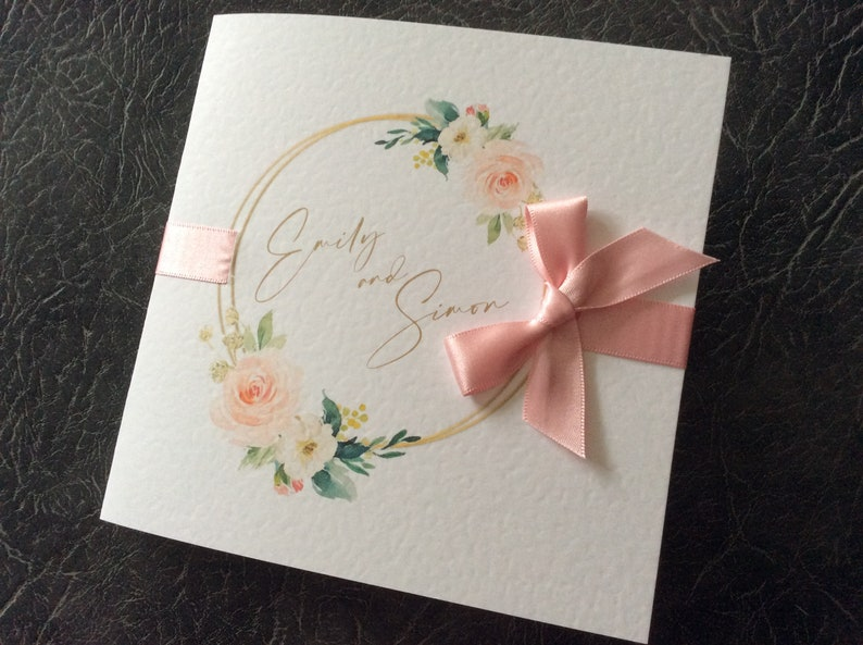 Wedding Invitation  Floral Hoop  with Ribbon and Bow Sample (1) 1.99