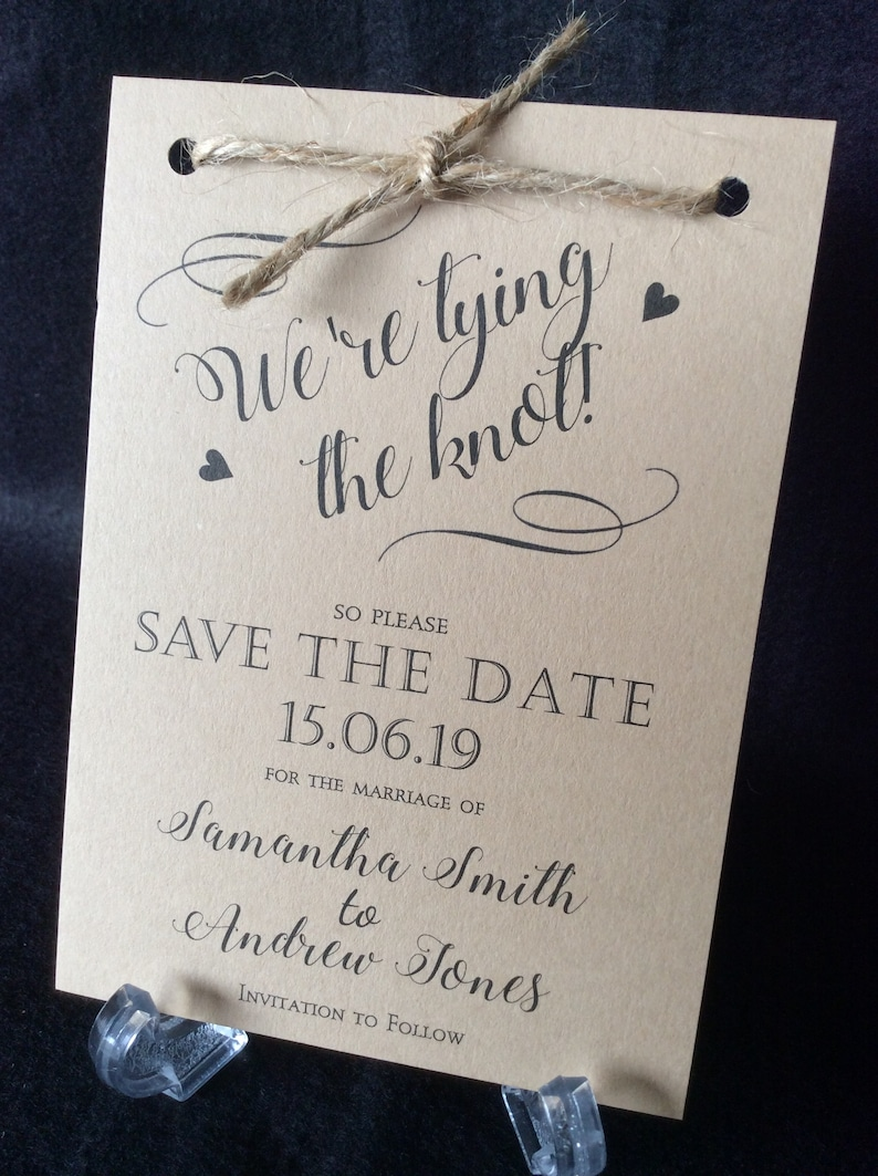 Rustic Craft Save the Date Wedding Card  We're Tying the Sample (1) 0.99
