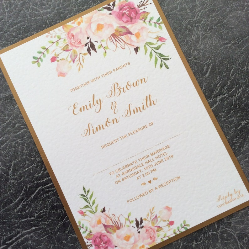 Wedding Invitation  Vintage Watercolour Pink Floral Mounted Sample (1) 1.99