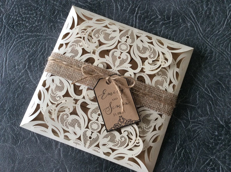 Wedding Invitation  Rustic Laser Cut Wallet with Hessian image 0