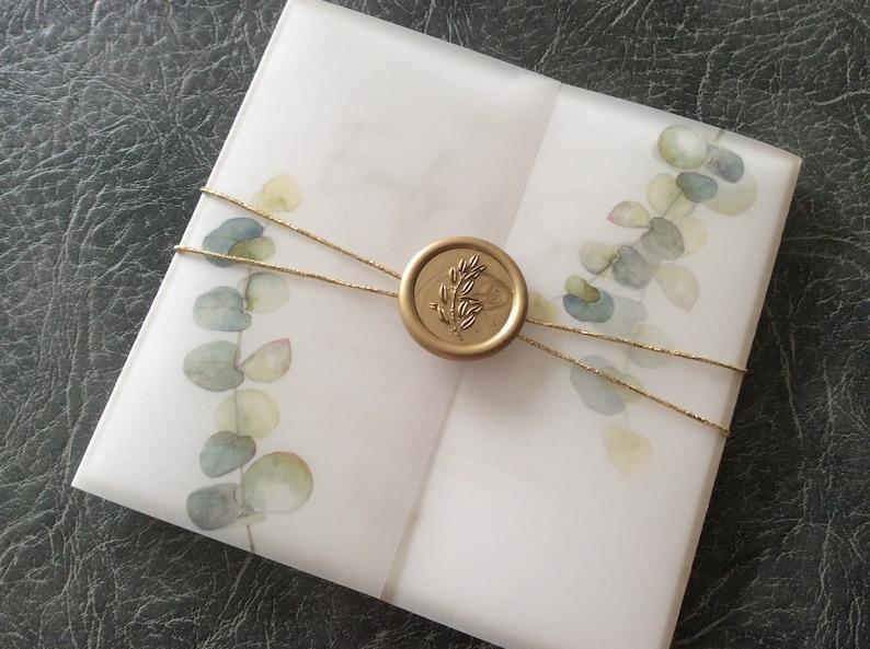 Wedding Invitation  Vellum wrap with watercolour eucalyptus 10 pcs (3.60 each)
