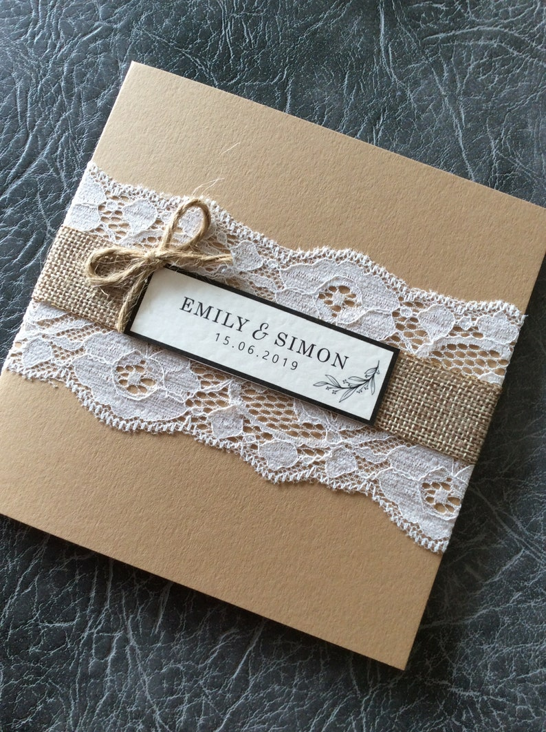 Rustic Wedding Invitation Hessian and Lace Pocketfold Sample (1) 1.99