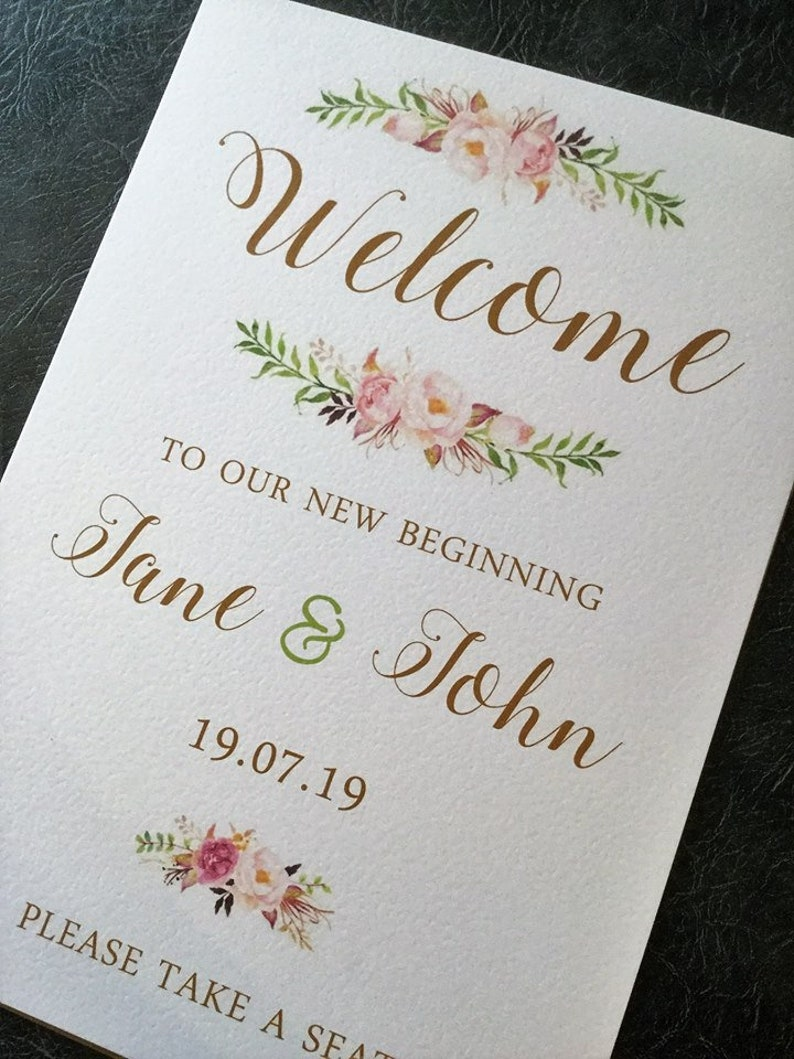 A3 Wedding Signs for Church or Venue Floral Welcome