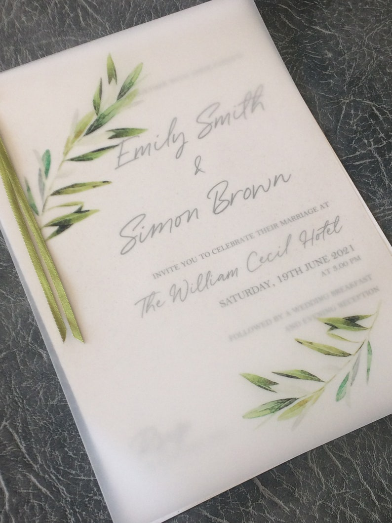 Wedding Invitation on Eco Recycled Card with Printed leaf Sample (1) 1.99