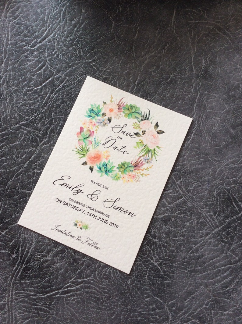 Save the Date Wedding Card  Rustic Wreath Floral Sample (1) 0.99