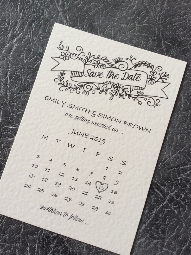 Wedding Save the Date Card Vintage Calendar Style Sample (1) 0.99