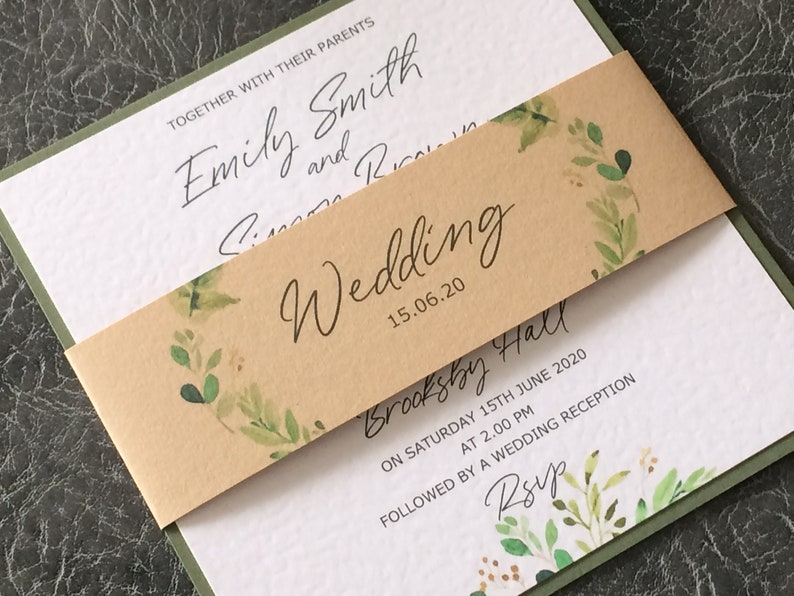 Wedding Invitation  Rustic/Botanical Invite with Craft Belly Sample (1) 1.99