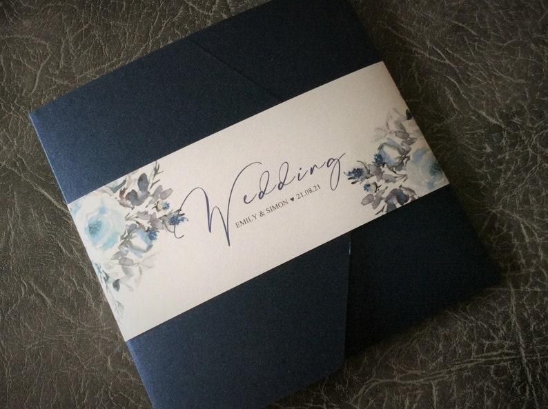 Wedding Invitation  Watercolour Floral Navy/Dusky Blue Sample (1) 1.99