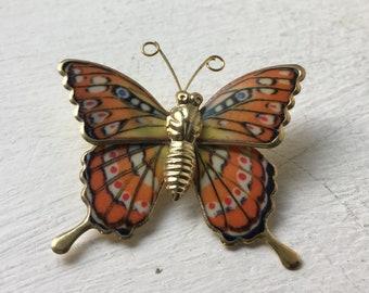 Vintage Butterfly Brooch Pin/ Orange Brooch/ Orange Butterfly/ Metal Brooch/ Enamel Brooch/ 80s Brooch/ Butterfly Jewelry/ Retro