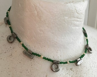 Celtic Necklace/ Green Delicate Glass Beads/ Silver Metal Charms/ Short Necklace/ Retro Necklace/ Vintage Necklace/Celtic Charms