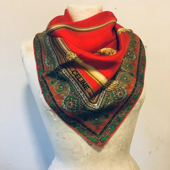 CELINE PARIS Vintage Pure Silk Scarf, Designer Sil