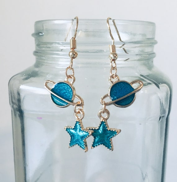 Earrings, Vintage Earrings, The Planets And Stars