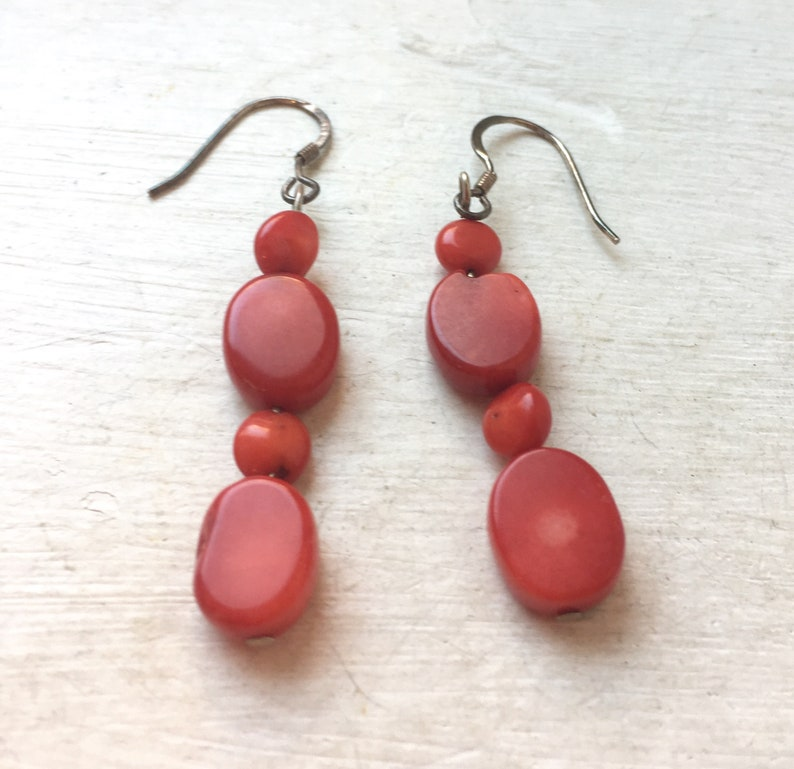 Vintage Jewellery Vintage Red Coral Natural Beaded Dangle Earrings With Silver Earrings Wire Natural Red Coral Jewellery 925 Silver