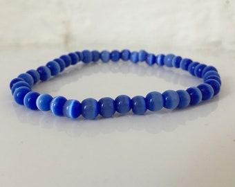 Murano Glass Bead Bracelet/ Vintage 90s Bracelet/ Blue Glass Beads/ Strung Beads/ Vintage Glass/ Italian Glass/ Retro/ Gift