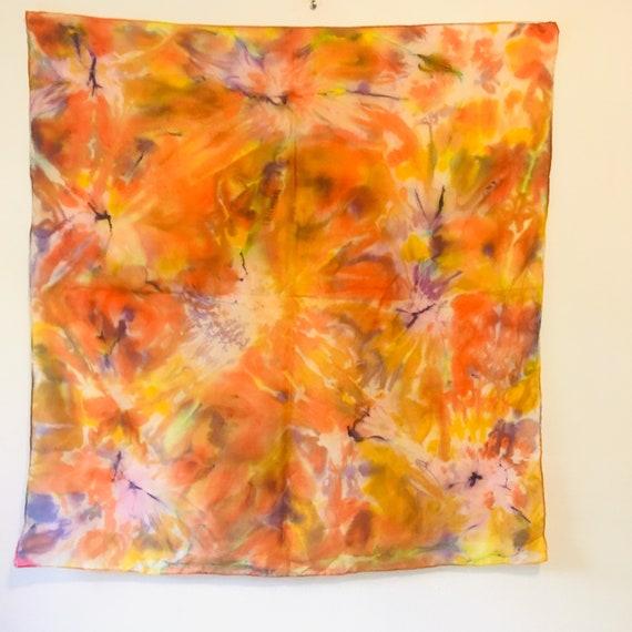 Vintage Rainbow Silk Scarf, Hand Dyed Silk Chiffon