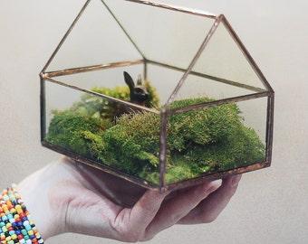 Geometric TinyHouse Glass Terrarium # Modern Planter for Indoor Gardening