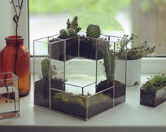 SALE Geometric Glass Terrarium Modern Planter for Indoor Gardening SALE