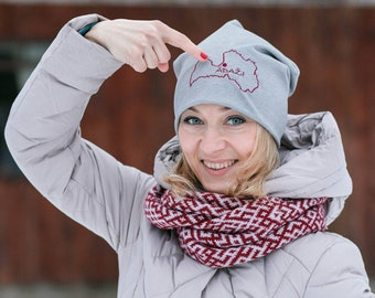 Light Gray Beanie Personalized Slouch Hat Embroidered Hat With Name Tag Country Border And Your City Or Logo Cute Adorable Gifts