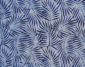 Leaf print Indigo fabric supply wholesale block print fabric by the yard
