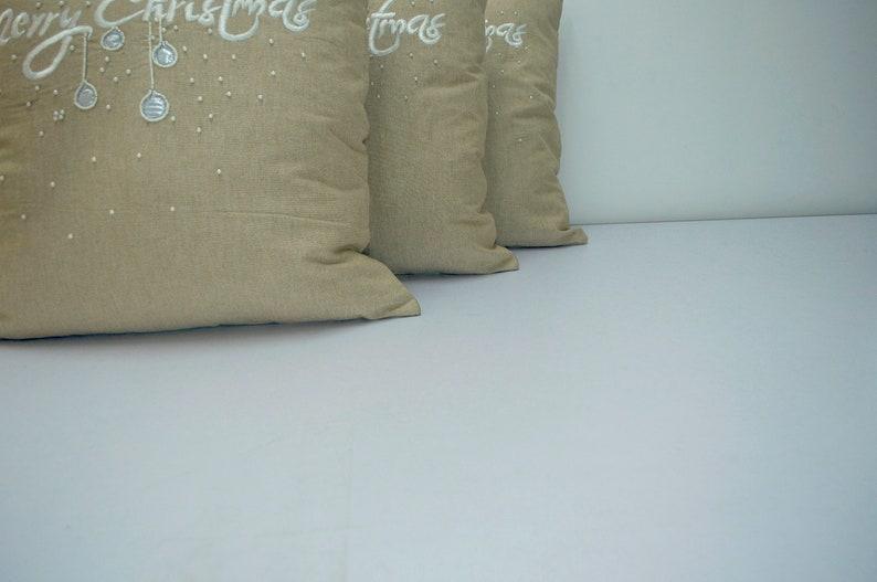 Set of 2 Christmas pillows Handmade pillow chambray decorative pillow