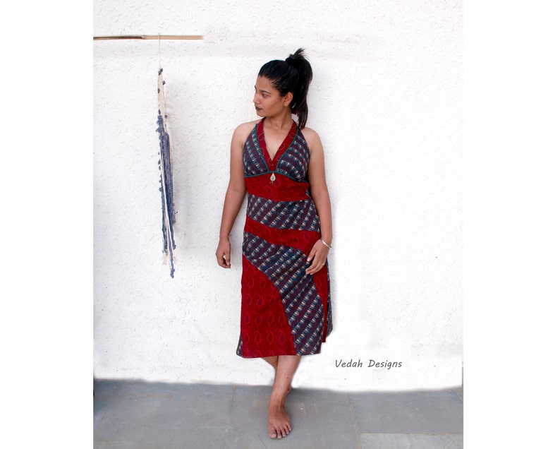 49e842a9b6 Free Shipping Blue red hand embroidered block print dress Boho halter dress