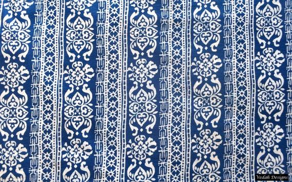 Designer Fabric Indigo Fabric Supply Wholesale Block Print Etsy
